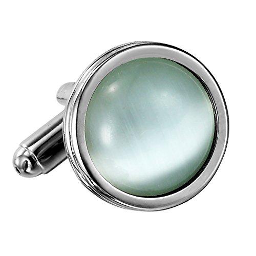 Urban Schmuck Atemberaubende Runde Blau Creme-Opal und Edelstahl Manschettenknöpfe für Männer (Silber)