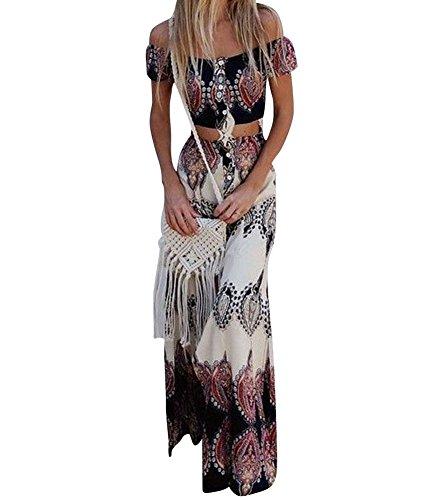 Vestido Boho Verano Mujer Conjunto de Falda para,Dos Piezas Conjunto de Falda para Arriba con botón Bowknot Holiday Beach Absolute