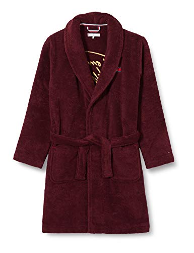 Tommy Hilfiger Herren Towelling Robe Signature Pyjamaset, Deep Rouge, M