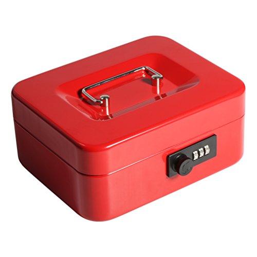 Decaller - Caja de dinero con cerradura de combinación, caja de seguridad de metal con bandeja de dinero, 19 x 15 x 9 cm