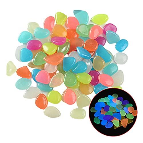 SacJkt Piedra Luminosa Artificial, Piedras Guijarros Brillan En La Oscuridad, 100 Guijarros Brillantes para Decorar La Piscina del Tanque De Peces del Jardín (Mezcla De Colores)