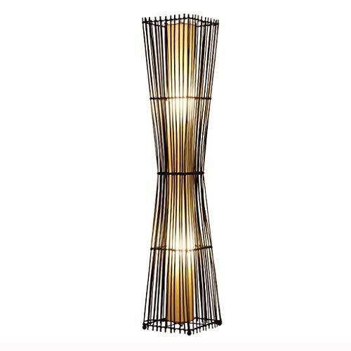 Allamp Lámpara de pie Moderna de ratán Tejido a Mano Lámpara de Pastoral de bambú Lámpara estándar for el Dormitorio Sala Comedor -26 * 138cm para Aprender de Coser en Sala de Estar y dormitor