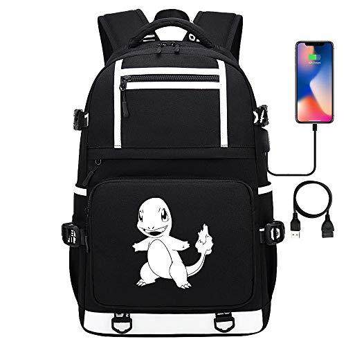 Pikachu Series Teenager College Daypack Bolsa de Viaje Mochila Escolar Mochila para portátil con Puerto USB Impermeable 17 Pulgadas estilo-13
