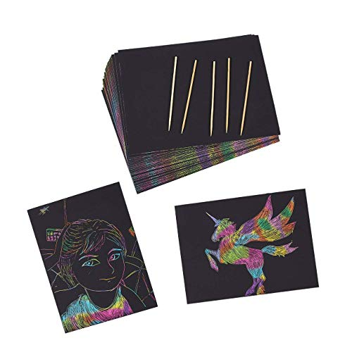 Juvale Rainbow Scratch Paper Sheets with Wooden Styluses (50 Sheets + 5 Pens)