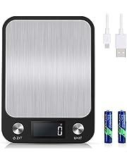 Diyife 10kg/1g Oplaadbare Keukenweegschaal, USB & Beschikbare Batterij, Groot Weegbereik, Elektronische Digitale Weegschaal van Roestvrij Staal, 6 Weegeenheden, LCD-Display, Tarra-Functie