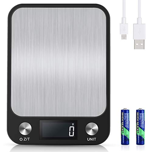 Diyife 10kg/1g Balance Cuisine [USB Rechargeable & Batterie Disponible], Balance Electronique Numérique en Acier Inoxydable, 6 Unités de Pesage, Affichage Rétroéclairé par LCD, Fonction Tare