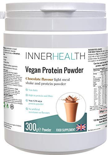 Premium UK 100% Plant Based Organic Vegan Protein Powder 300g (Chocolate). Raw Ingredients Packed with Health Benefits from Essential Amino Acids, Vitamins & Minerals - High Protein, Low Carb & Fat.