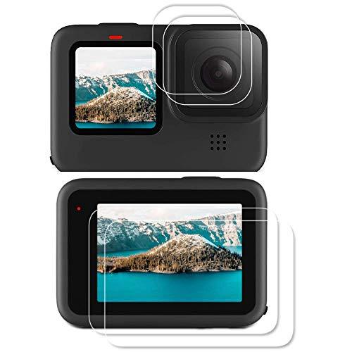Elyco Displayschutz Schutzfolie Panzerglas für GoPro Hero 9 Black, Ultra-frei Hartglas Objektiv Schutzfolie+ Anti-Fingerabdruck Displayschutzfolie Kompatibel mit Hero 9 Black Action Kamera (4pcs)