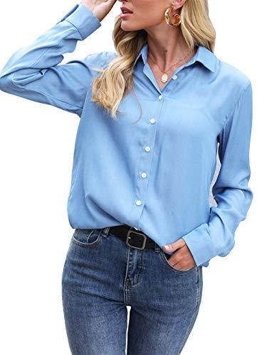 UTNISAN Women's Denim Shirts, Long Sleeve Button Down Chambray Shirts for Women Blouses (Blue Denim Shirts, L)