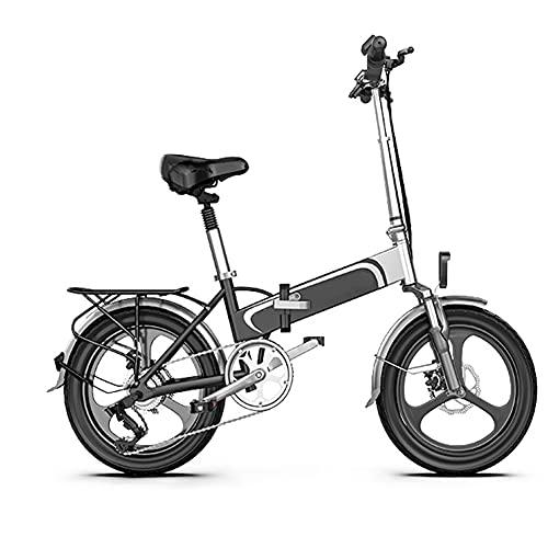 NKOU Bicicleta eléctrica Plegable de 400W con batería de Litio extraíble, Bicicletas motorizadas con neumáticos de 16 Pulgadas, Scooter de Movilidad Ligera, 50km MAX Kilometraje