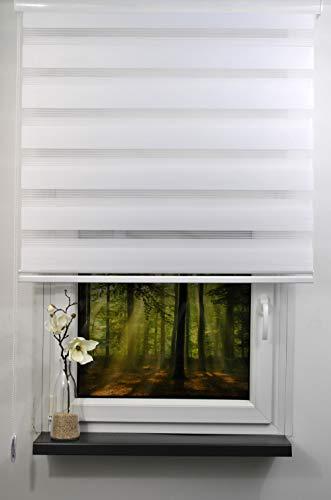 Doppelrollo Duo Rollo Farbe weiß mit breiter Beschwerung   geschlossener Kassette   Kettenzug Alternative zu Gardine oder Plissee (120 cm, 170 cm)