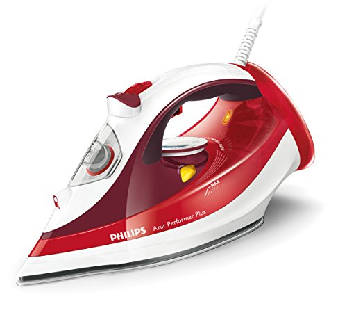 Philips GC4516/40 Plancha Suela SteamGlide Plus, Continuo de 45 g/min, Golpe de Vapor de 190 g, Anti-Cal, 2400 V, 2400 W, 0.3 litros, Acero Inoxidable, Rojo