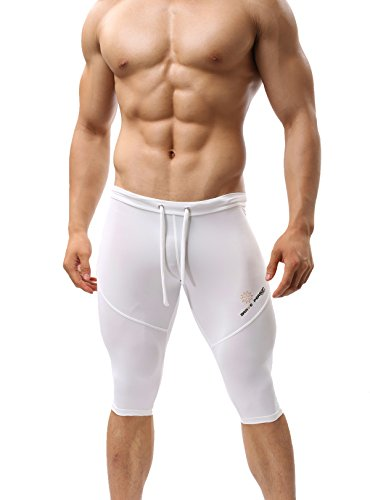 BRAVE PERSON 221 Compression Sports Pants Tights Cool Dry Running Leggings Yoga Men (L / 32-36, White)
