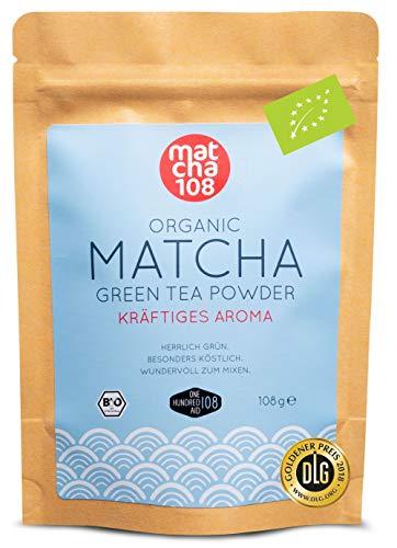 Bio Matcha-Tee-Pulver aus der weltberühmten Hangzhou Tee-Anbaugebiet, 100+8g im wieder verschließbarem Aromabeutel, ohne Zusätze 100{2e18c565188ddf746c586922eb00536e68253b4b7dd0285de41cdf4173d018a4} reine Natur - von MATCHA 108
