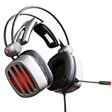 gyx PS4 Headset, Gaming Headphones 7.1 Surround Sound Over-Ear Noise Cancelling, Gaming Headsets with Mic Soft Memory Earmuffs for PS4/PC, Computer, Video Game with Flexible Microphone Volume Control