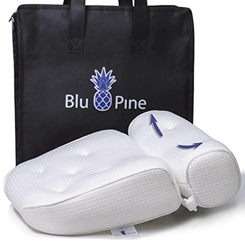 BluPine Badewannenkissen - ergonomische Kopfstütze - Haken und 7 Saugnäpfe - Tragetasche und Waschmaschienennetz (Weiß)
