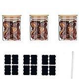 Annfly 3 tarros de vidrio con tapas de bambú herméticos para cocina y cereales para almacenamiento (incluye 3 pegatinas y bolígrafo) para té de mermelada (180 ml)