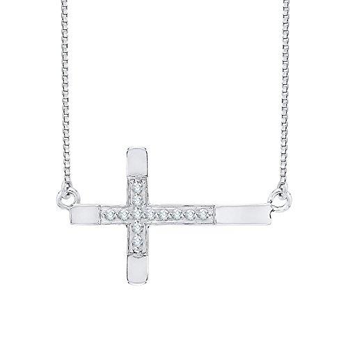 Diamond Sideways Cruz colgante en plata de ley (1/20quilates)