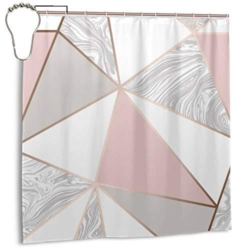 Zara - Cortina de ducha de mármol metálico suave rosa y oro rosa para baño impermeable con ganchos de metal, 183 x 183 cm
