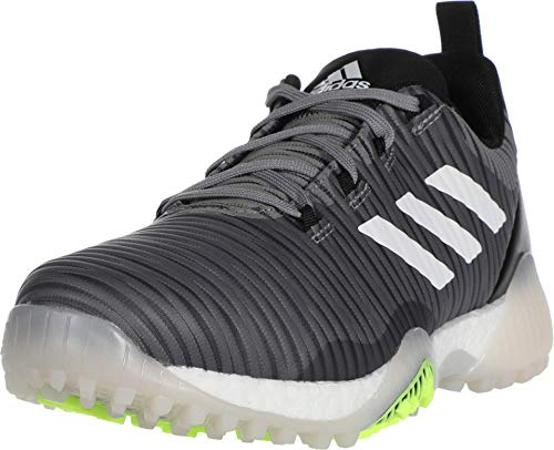 adidas Men's CODECHAOS Golf Shoe, Grey Three/Signal Green/Glory Blue, 12 Medium US