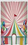 ABAKUHAUS Circo Cortina para baño, Globos del Circo de la Vendimia, Tela con Estampa Digital Apta Lavadora Incluye Ganchos, 120 x 180 cm, Multicolor