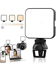 Video Conference Lighting Kit, Lighting for Video Recording with Tripod, LED Camera Light Video Light 2500K-6500K Dimmable with Clip for Streaming Zoom Lighting, Portable Clip On Light with Battery