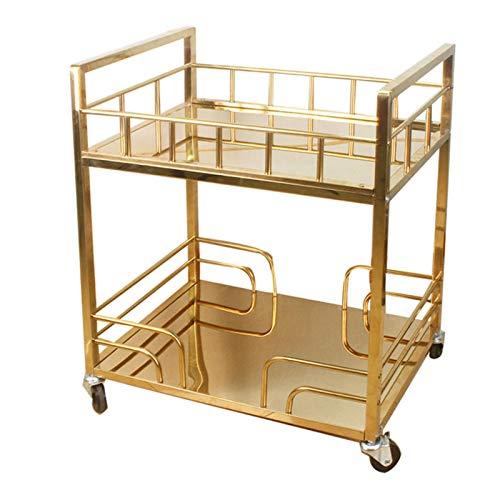 QWERTY Barwagen, Gold, Servierwagen, for Küche, Esszimmer, Hausbar, oder Buffet, Hausbar Servierwagen Design Servierwagen Küchenwagen Rollwagen (Color : Style 2)
