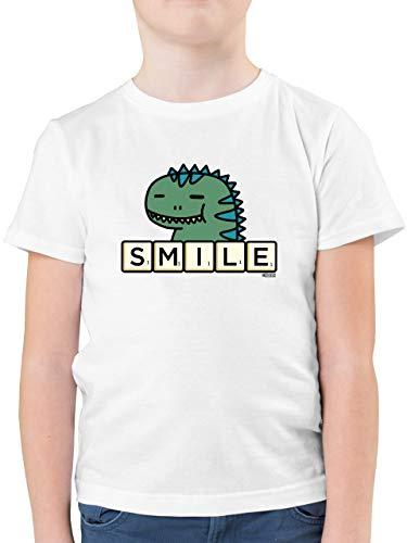 Scrabble Jungen - Smile - 152 (12/13 Jahre) - Weiß - Spruch - F130K - Kinder Tshirts und T-Shirt für Jungen
