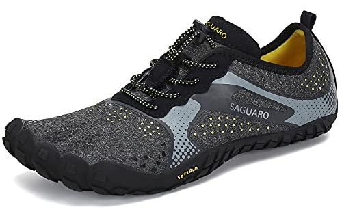 SAGUARO Hombre Mujer Zapatillas Barefoot Minimalistas Calzado de Training Ligeras Cómodas para Caminar Senderismo Ciclismo Trail Running Trekking Playa Agua Exterior Interior, Cuervo Negro, 42