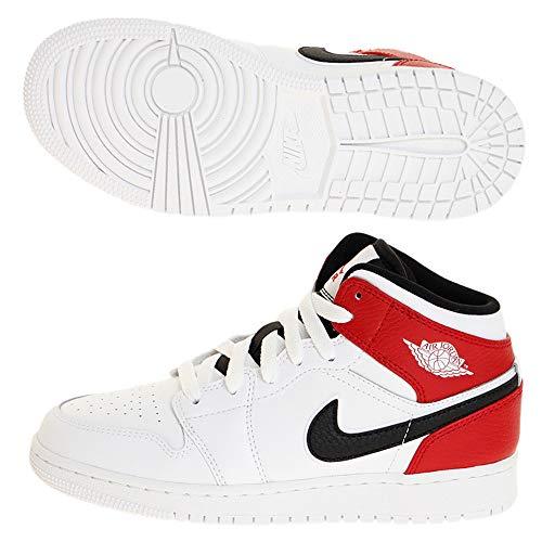Nike Air Jordan 1 Mid (GS), Zapatillas Altas para Niños, Multicolor (White/Black/Gym Red 116), 39 EU