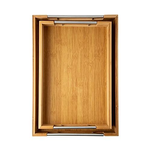 Moderne Bambus-Serviertabletts mit Griff - Satz von 2 hölzernen Tabletts - große und kleine Tablett-Set für Lebensmittel - 100 {b2e7dec50104137087300ee04ef96e7d7e1d62363af5666e1e8ca2998991363c} umweltfreundliche Bambus-Tabletts für das Frühstück - natürliche