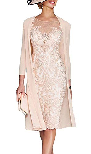 Mother of The Bride Dresses Lace Chiffon Tea Length Sleeves Jacket Formal Evening for Women Champagne