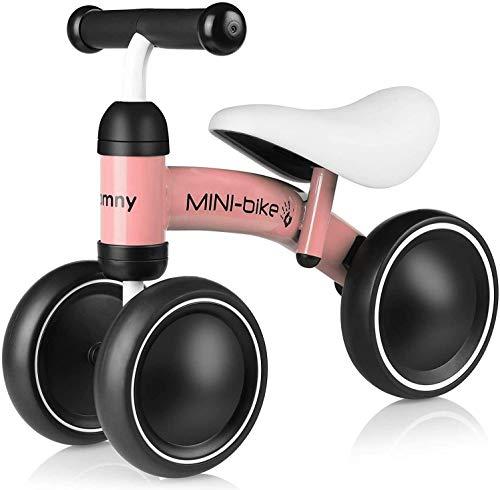 Bamny Kinder Laufrad Baby Laufräder für 10 - 24 Monate, Lauflernrad mit 3 Räder, Balance Bike Rutschrad Fahrrad Baby Walker - Rosa