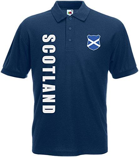 AkyTEX Schottland Scotland EM-2020 Polo-Shirt Wunschname Nummer Navyblau S