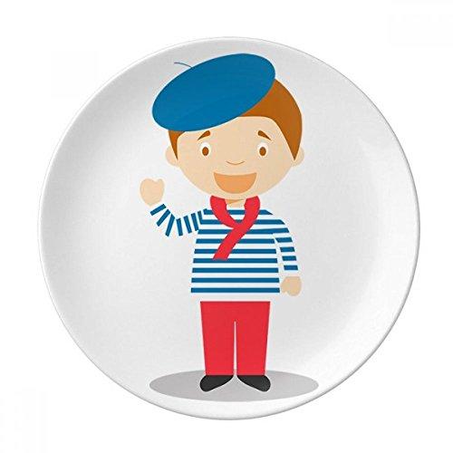 DIYthinker Bleu Sea France Cartoon décoratif en Porcelaine Assiette à Dessert 8 Pouces Dîner Accueil Cadeau 21cm diamètre Multicolor