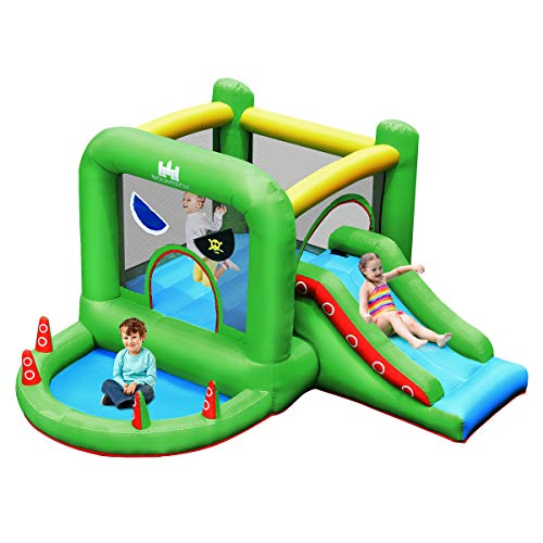 BOUNTECH Inflatable Bounce House, Pirate Style Jumping Castle w/ Large Jumping Area, Climbing Wall, Slide, Ball Pit, Mesh Protection, Oxford Carry Bag, Bouncy Playhouse for Kids Indoor Outdoor