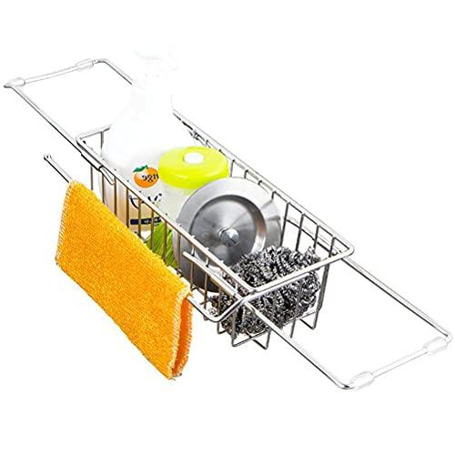Estante de almacenamiento para fregadero, organizador telescópico de acero inoxidable, soporte de esponja para fregadero de cocina, escurridor para cepillo de esponja y jabón