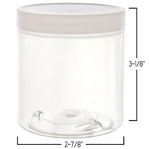8 oz Slime Containers: Clear Empty Wide Mouth Plastic Storage Jars with Lids + Labels   Perfect for DIY Slime Making (Black Lid, 12 Pk w/White Label)
