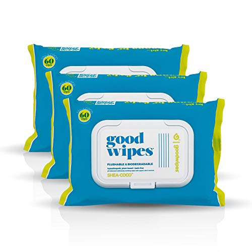 Goodwipes Flushable & Biodegradable Wipes with Botanicals, Dispenser for At-Home Use Safe, Shea-Coco...