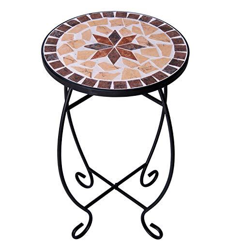 Mesa Auxiliar para terraza Superficie de Mosaico Redonda pequeña Mesa de balcón de Mosaico para Exteriores Mesa de Metal con Mosaico para macetas