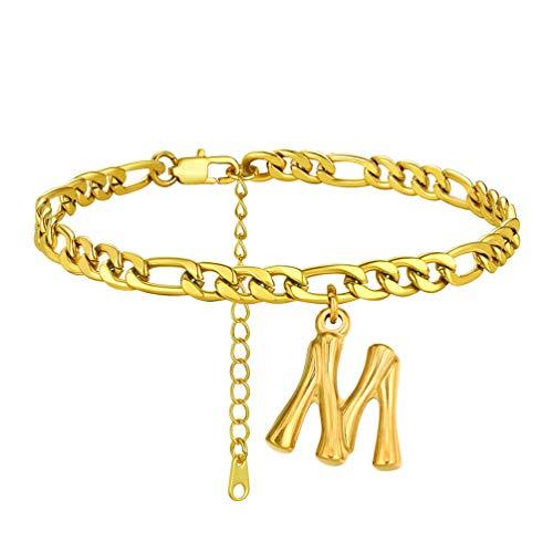 PROSTEEL Tobillera Pulsera Oro Baño con Letra M, 22cm+5cm Tobillera Ajustable