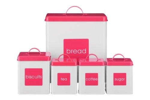 Premier Housewares Vorratsdosen emailliert 5-teiliges Set Weiߠ/Hot Pink