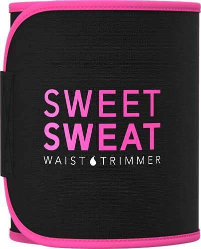 Sweet Sweat Waist Trimmer - Black/Pink Logo (XL) | Premium Waist Trainer Bet for Men & Women