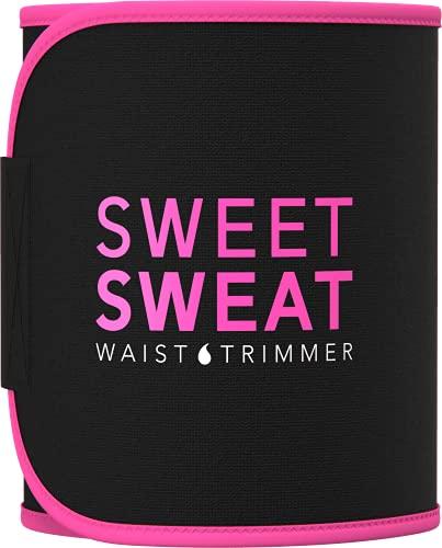 Sweet Sweat Waist Trimmer - Black/Pink (Medium) | Premium Waist Trainer Sauna Belt for Men & Women