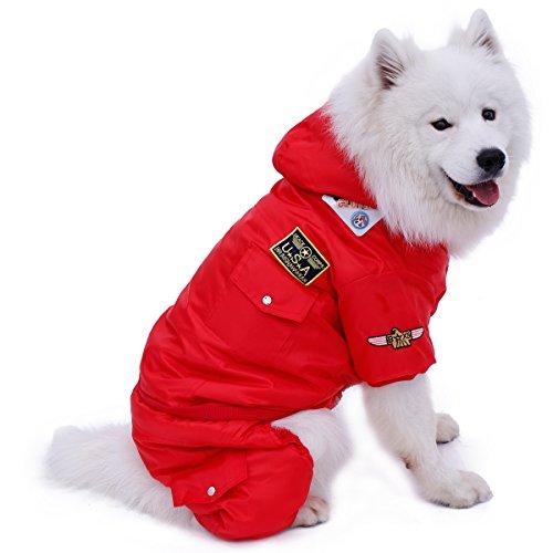 PAWZ Road Invierno Calentar Abrigo de Perro A Prueba de Viento Chaqueta USA Fuerza Aerea Sudadera con Capucha para Mascotas Ropa Perrito 4 piernas Traje de Esquiar Vestir Disfraz Rojo XL