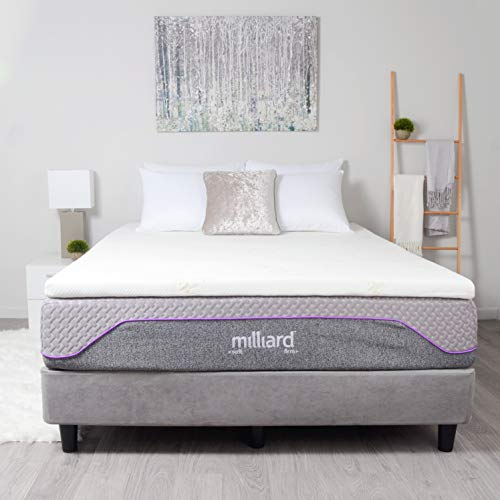 Milliard 2' Gel Infused Memory Foam Mattress Topper + Ultra Soft Removable Bamboo Cover with Non-Slip Bottom Queen 78'x58'x2""