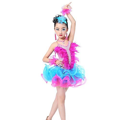 PQXOER - Vestido de baile para niñas con espalda descubierta de lentejuelas latinas para baile de baile o baile con volantes, vestido tutú, rendimiento profesional, competición, danza, vestido de ballet para niñas