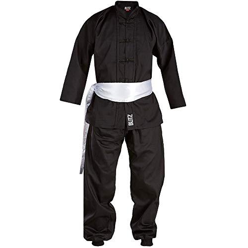 Blitz Kung Fu Anzug–schwarz/weiß, 7/200cm, Unisex, Kung Fu, schwarz