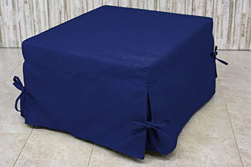 Ponti Divani - Sofia - Pouf Letto Singolo con Materasso h 10cm di Ottima qualità e Rete Italiana Tessuto Blu
