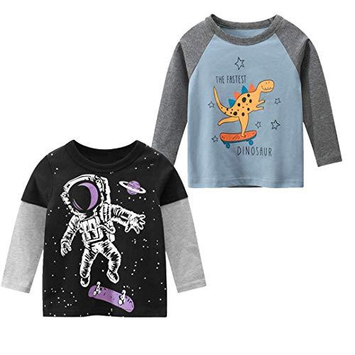 Tyidalin Jungen Langarmshirt T Shirt Sweatshirt Bedrucktes Baumwolle Oberteil Frühling Herbst 1-7 Jahre (2er Pack)